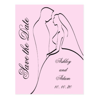 Black Pink Bride and Groom Save the Dates Postcard