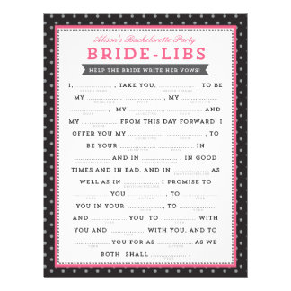 Black & Pink Bride Libs Game Flyer