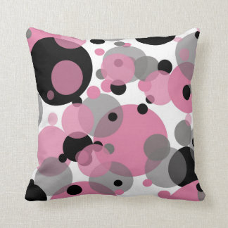 Black Pink Bubbles White Throw Pillow