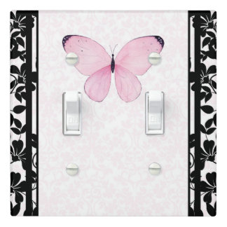Black & Pink Butterfly Floral Girls Bedroom Light Switch Cover