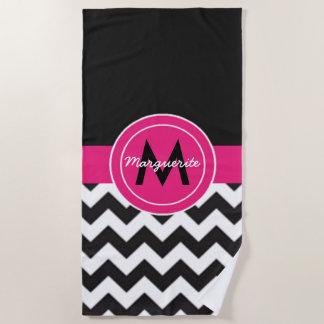 Black Pink Chevron Beach Towel