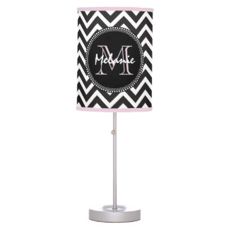 Black Pink Chevron Daughter's Room Chic Monogram Table Lamp