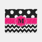 Black Pink Chevron Dots Monogram Blanket