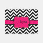 Black Pink Chevron Monogram Blanket