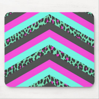 Black Pink Chevron Stripes  Teal Cheetah Print Mouse Pad