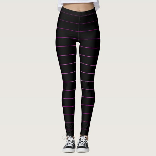 Black Pink Cute Striped Trendy Leggings