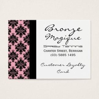 Black Pink Damask Business Customer Loyalty Cards