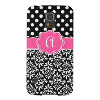 Black Pink Damask Dots Monogram Galaxy S5 Case