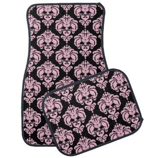 Black & Pink Damask Modern Trendy Pattern Glam Car Mat
