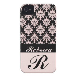 Black Pink Damask Personalized iPhone 4 Case
