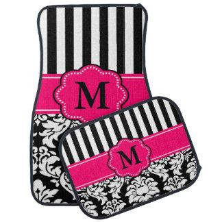 Black Pink Damask Stripe Monogram Floor Mat