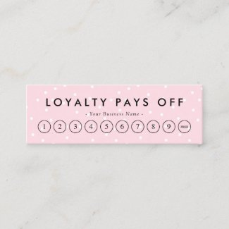 Black & Pink Dots Loyalty Punch Card- The perfect Loyalty programs for spas and salons