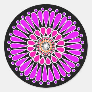 Black - Pink Double Sunflower Mandala Classic Round Sticker