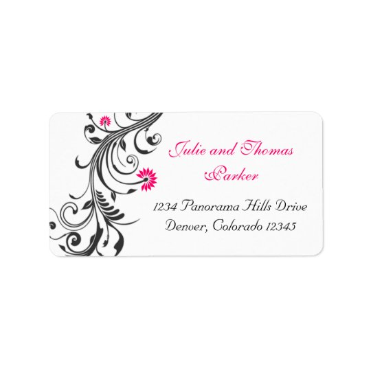 Black Pink Floral Wedding Return Address Label