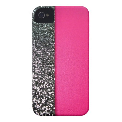 Black & pink glitter iphone cover iPhone 4 cover