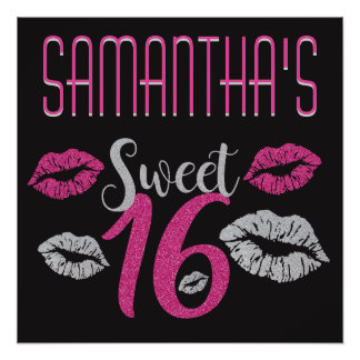 Black Pink Gray Sparkle Sweet 16 Poster Customize Perfect Poster