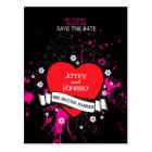 Black & Pink Grungy Heart Music Themed Wedding Postcard