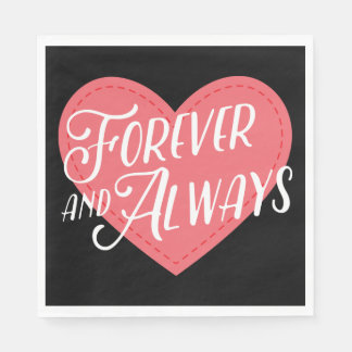 Black Pink Heart Forever Love Wedding Party Disposable Napkin