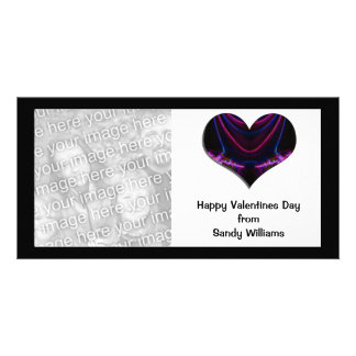 black pink heart photo card template