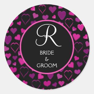Black & Pink Hearts Design Wedding Monogram Seal Round Sticker