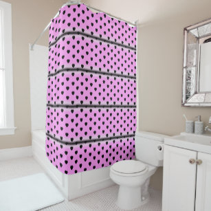 Black Pink Hearts Shower Curtain
