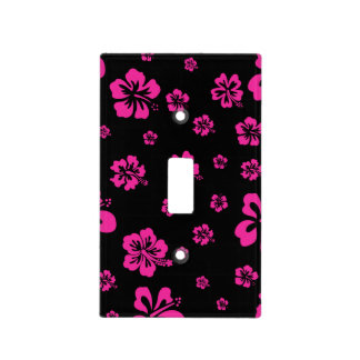 Black & Pink Hibiscus Tropical Light Switch Cover