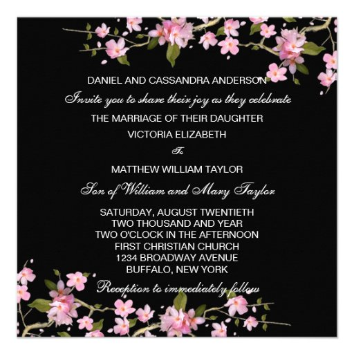 Black Pink Japanese Cherry Blossoms Wedding Announcements