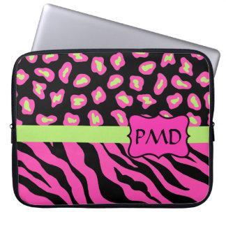 Black, Pink & Lime Green Zebra & Cheetah Skins Laptop Computer Sleeves