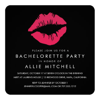 "Black & Pink Lips Bachelorette Party 5.25"" Square Invitation Card"