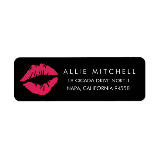 Black & Pink Lips Return Address Return Address Label