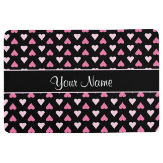 Black Pink Love Hearts Floor Mat