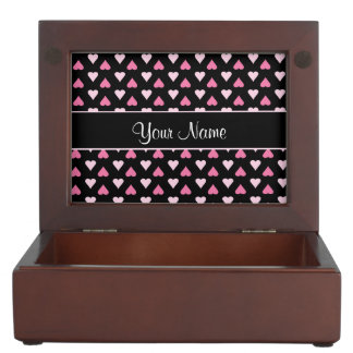 Black Pink Love Hearts Keepsake Box