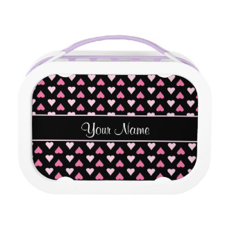 Black Pink Love Hearts Lunch Box