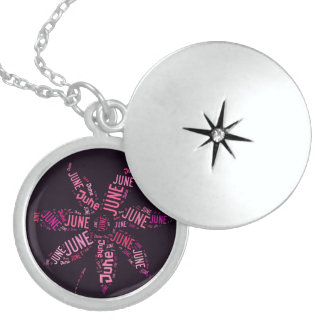 Black Pink Name June Funny Flower Typography Round Locket Necklace