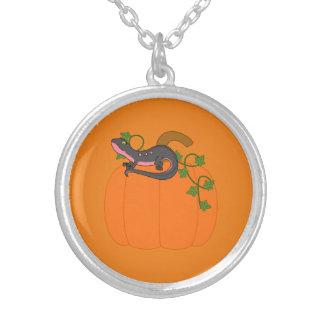 Black & Pink Newt on Halloween Pumpkin Round Pendant Necklace