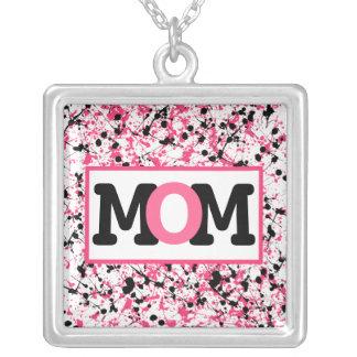 Black & PInk Paint Splatter Mom Necklace