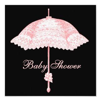 "Black Pink Parasol Umbrella Baby Girl Shower 5.25"" Square Invitation Card"