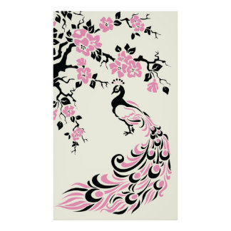 Black pink peacock and cherry blossoms poster