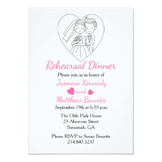 Black & Pink Rehearsal Dinner Bride & Groom Hearts Card