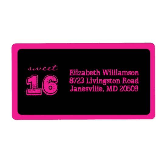 Black & Pink Sweet 16 Return Address Labels
