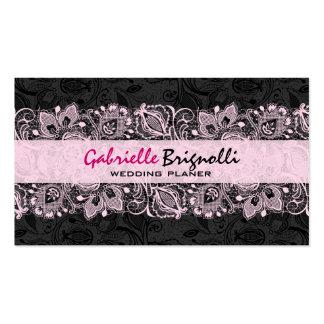 Black & Pink Vintage Floral Lace Wedding Designer Business Card Template