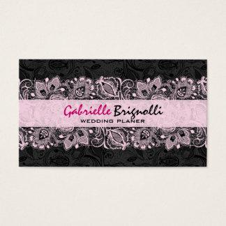 Black & Pink Vintage Floral Lace Wedding Designer Business Card