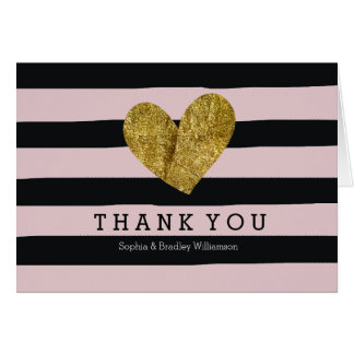 Black Pink Watercolor Stripes Heart Thank you Stationery Note Card