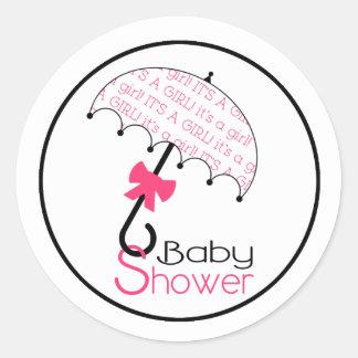 Black Pink & White Baby Shower Umbrella Sticker