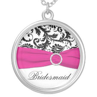 Black, Pink, White Damask Bridesmaid Pendant