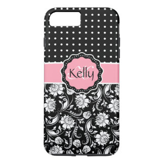 Black Pink & White Damask & PolkaDot Pattern 3 iPhone 8 Plus/7 Plus Case