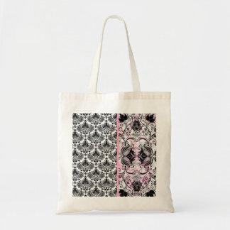 Black Pink & White Floral Damask Pattern