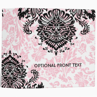 Black Pink & White Floral Damasks Binders