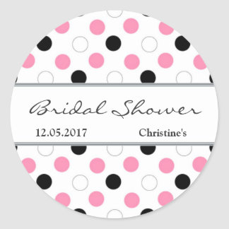 Black, pink, white polka dot Bridal Shower Sticker
