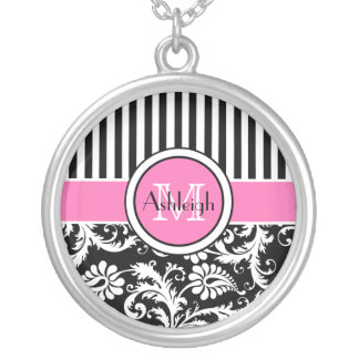 Black, Pink, White Striped Damask Necklace